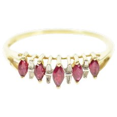 10K Marquise Ruby Diamond Graduated Band Ring Size 12.25 Yellow Gold [CXQC]