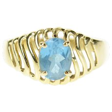 14K Oval Blue Topaz Wavy Pattern Statement Ring Size 10.25 Yellow Gold [CXQC]