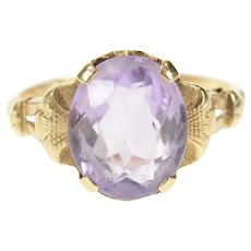14K Victorian Ornate Amethyst Solitaire Statement Ring Size 6 Yellow Gold [CXQC]