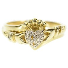 10K Diamond Heart Claddagh Traditional Celtic Ring Size 7.75 Yellow Gold [CXQC]