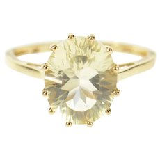 10K Prasiolite Solitaire Ornate Classic Statement Ring Size 7.25 Yellow Gold [CXQC]