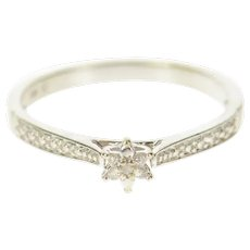 10K Flower Diamond Cluster Simple Promise Ring Size 6.75 White Gold [CXQC]