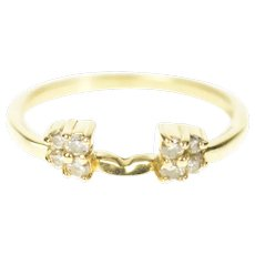 14K Diamond Cluster Accent Wedding Band Ring Size 7.75 Yellow Gold [CXQC]