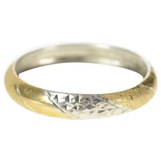 Sterling Silver Two Tone Twist Pattern Rounded Band Ring Size 9.25  [CXQC]