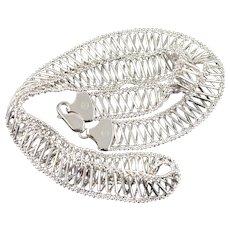 14K DNA Criss Cross Fancy Ball Link Chain Necklace 16.75 White Gold  [QWXK]