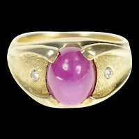 14K 1960's Retro Lindy Star Ruby Diamond Men's Ring Size 5.75 Yellow Gold [CXQX]