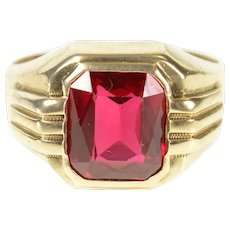 10K Retro Men's 1960's Syn. Ruby Statement Ring Size 10.5 Yellow Gold [CXQX]