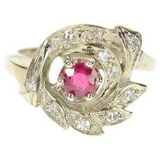 14K 1950's Ornate Syn. Ruby Diamond Leaf Swirl Ring Size 5.25 White Gold [CXQX]