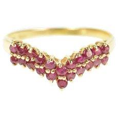 14K Chevron Ruby Curved Wedding Band Ring Size 6.75 Yellow Gold [CXQX]