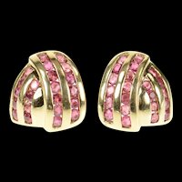 14K Ruby Channel Criss Cross Statement Stud Earrings Yellow Gold [CXQX]