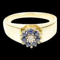 14K Diamond Sapphire Halo Ornate Statement Ring Size 7.5 Yellow Gold [CXQX]