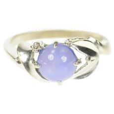 10K Retro Ornate Syn. Blue Star Sapphire Diamond Ring Size 6.25 White Gold [CXQX]