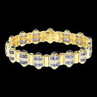 "18K 15.75 Ctw Ornate Sapphire Diamond Statement Bracelet 7"" Yellow Gold [CXQX]"