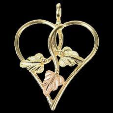 10K Classic Black Hills Leaf Heart Love Symbol Charm/Pendant Yellow Gold [CXQX]