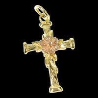 14K Two Tone Black Hills Rose Cross Christian Faith Pendant Yellow Gold [CXQX]