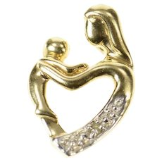10K Diamond Inset Mother Child Mother's Day Charm/Pendant Yellow Gold [CXQX]