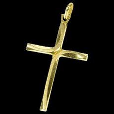 14K Curvy Design Cross Christian Faith Pendant Yellow Gold [CXQX]