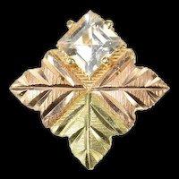 10K Black Hills Leaf Princess Cubic Zirconia Pendant Yellow Gold [CXQX]