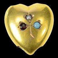 10K Victorian Seed Pearl Garnet Puffy Heart Slide Charm/Pendant Yellow Gold [CXQX]