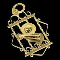 18K Mariachi Hat Guitar Motif Ornate Music Charm/Pendant Yellow Gold [CXQX]