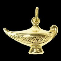 18K Middle Eastern Oil Lamp Ornate Charm/Pendant Yellow Gold [CXQX]