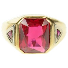 14K 1940's Syn. Ruby Men's Three Stone Statement Ring Size 10.75 Yellow Gold [CXQX]