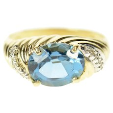 10K Oval Blue Topaz Diamond Twist Statement Ring Size 7 Yellow Gold [CXQX]