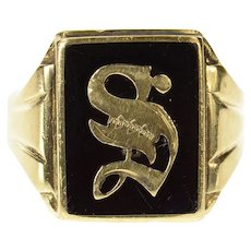 10K 1940's Men's Black Onyx S Monogram Letter Ring Size 10 Yellow Gold [CXQX]