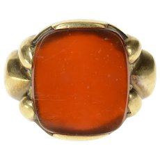 10K 1930's Carnelian Ornate Men's Statement Ring Size 10.25 Yellow Gold [CXQQ]