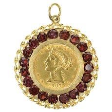 14K 1907 Liberty Head $5 Garnet Halo Coin Charm/Pendant Yellow Gold [CQXF]