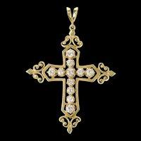 14K 1.03 Ctw Diamond Ornate Cross Christian Pendant Yellow Gold [CQXF]