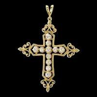 14K 1.03 Ctw Diamond Ornate Cross Christian Pendant Yellow Gold [CXQX]