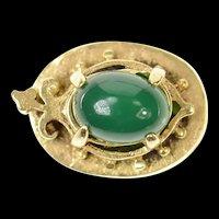14K Victorian Green Agate Ornate Slide Bracelet Charm/Pendant Yellow Gold [CXQX]