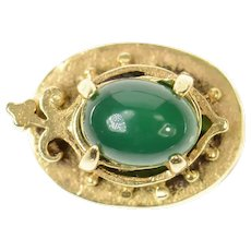 14K Victorian Green Agate Ornate Slide Bracelet Charm/Pendant Yellow Gold [CXQX]