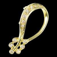 14K 0.27 Ctw Diamond Floral Loop Statement Pendant Yellow Gold [CXQQ]