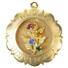 14K 1960's Happy Anniversary Retro Floral Bouquet Charm/Pendant Yellow Gold [CQXF]