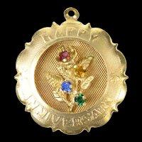 14K 1960's Happy Anniversary Retro Floral Bouquet Charm/Pendant Yellow Gold [CXQQ]
