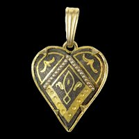 Gold Filled Ornate Victorian Enamel Puffy Heart Two Tone Pendant  [CXQQ]