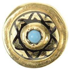 14K Victorian Turquoise Heart Slide Bracelet Charm/Pendant Yellow Gold [CQXF]