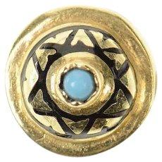 14K Victorian Turquoise Heart Slide Bracelet Charm/Pendant Yellow Gold [CXQQ]