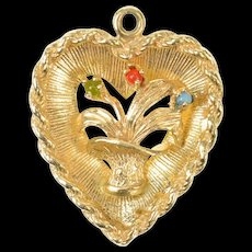 14K Retro Bouquet Heart Shadow Box Love Symbol Charm/Pendant Yellow Gold [CQXQ]