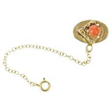 14K Victorian Coral Slide Bracelet Safety Chain Charm/Pendant Yellow Gold [CXQQ]