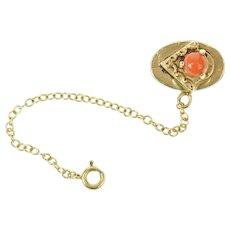 14K Victorian Coral Slide Bracelet Safety Chain Charm/Pendant Yellow Gold [CQXQ]