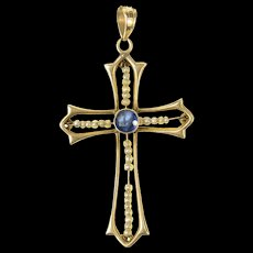 10K Victorian Seed Pearl Sapphire Cross Christian Pendant Yellow Gold [CXQQ]