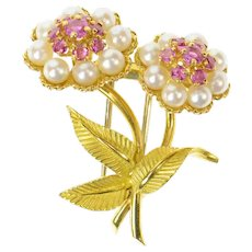 18K Retro Ruby Pearl Flower Bouquet Pin/Brooch Yellow Gold [CXQX]