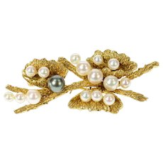 14K 1960's Ornate Pearl Branch Floral Statement Pin/Brooch Yellow Gold [CQXF]