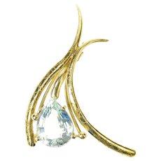 18K Pear Aquamarine Ornate Curved Statement Pin/Brooch Yellow Gold [CXQQ]