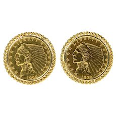 14K 1928 Indian Head Quarter Eagle $2.50 Coin Cuff Links Yellow Gold [CXQX]