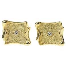 14K 1960's Diamond Textured Scroll Curved Cuff Links Yellow Gold [CQXF]