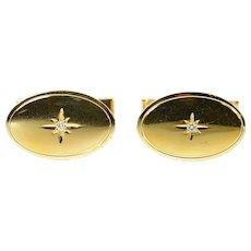 14K 1960's Diamond Star Inset Oval Classic Cuff Links Yellow Gold [CQXF]